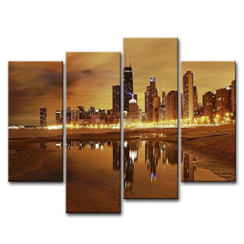 Canvas Print Wall Art Painting For Home Decor Modern City Chicago Skyline Downtown Illinois In The United States. City Skyline With Skyscrapers 4 Pieces Panel Paintings Modern Giclee Stretched And Framed Artwork The Picture For Living Room Decoration City Pictures Photo Prints On Canvas (Chicago Skyline Framed Picture compare prices)