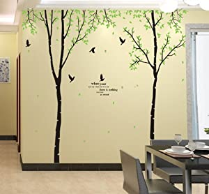 Green Garden Series Large White Birch living room bedroom TV wall removable wall sticker decals by Ufingo