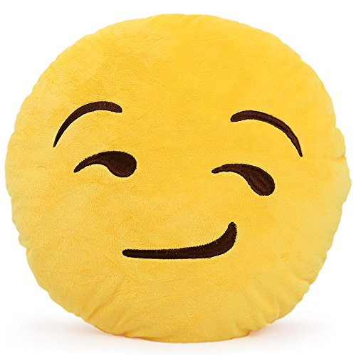 Review Of OI Emoji Smiley Emoticon Yellow Round Cushion Pillow Stuffed Plush Toy Doll (Smirking)