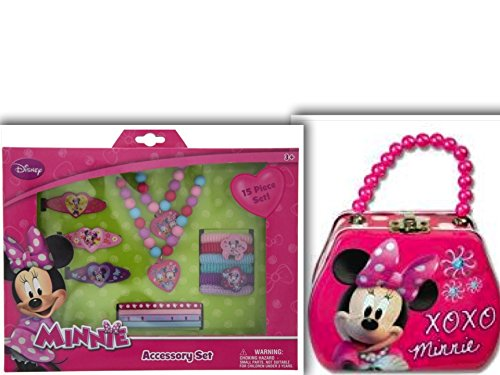 [Adorable Minnie Mouse Fashion Accessory Bundle: 2 Items Minnie Mouse Tin Pearl Beaded Purse & 15 Piece Minnie & Friends Accessory] (King Triton Costume Ideas)