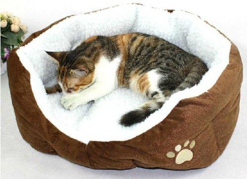 犬/猫用 ふわふわベッド Sサイズ (茶色)