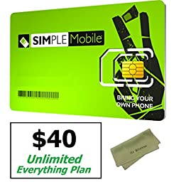 Simple Mobile Micro SIM Card with $40 Month Unlimited Everything Extended Nation Plan. Dual Cut / Micro / Mini 4G LTE SIM Works in Mexico/USA Prefunded Preloaded Activation Kit($40 Monthly Plan)