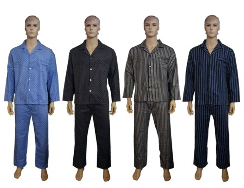 Cargo Bay Mens Thermal Nightwear, Spot & Stripe Print Cotton Pyjama Suit Sets, Spot Blue, X Large
