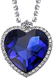 VIKI LYNN Heart of the Ocean Pendant Necklace Platinum Plated Ocean Heart Pendant Necklace Surrounded by Cubic Zirconia Titanic Necklace