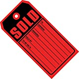 """Aviditi G2530 13 Point Cardstock Sold Tag, 4-3/4"""" Length x 2-3/8"""" Width, Red (Case of 500)"""