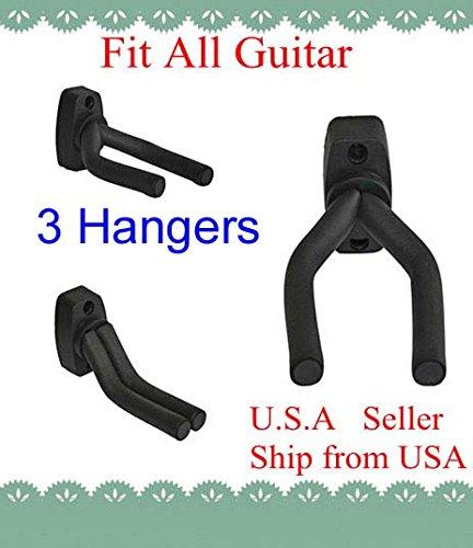 Lot Of 3 Guitar Hangers Holder Rack Wall Mount Display With Screws, Grak-Q3 Top Stagetm