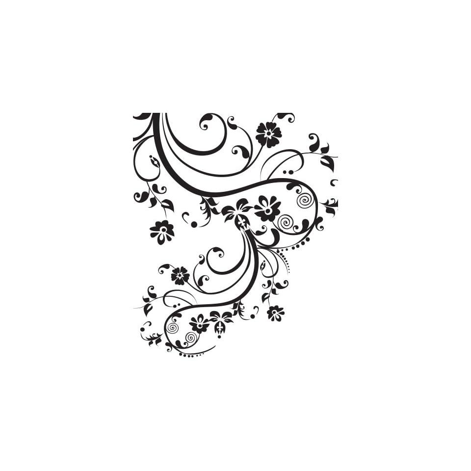 Stickerbrand Vinyl Wall Art Decal Sticker Swirl Flower Floral Design #262A (100 X 29)