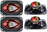 "4) New BOSS CH4630 4""x 6"" 3-Way 500W Car Audio Coaxial Speakers Stereo Red 4 Ohm"