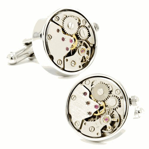 Silver Watch Movement Cufflinks Cuff Links Steampunk