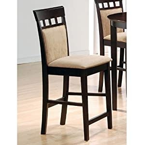 Coaster Bar Stools, Solid Wood Cappuccino with Wheat Back,30H,Set of 2 by Coaster Home Furnishings