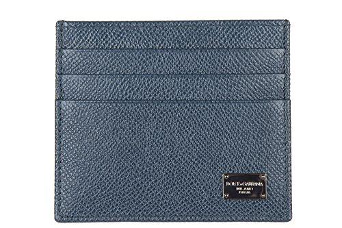 Dolce&Gabbana porta carte di credito portafoglio uomo pelle dauphine blu