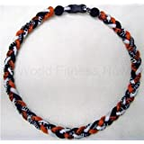 Baseball Titanium Necklace 20 inch Orange/White/Black