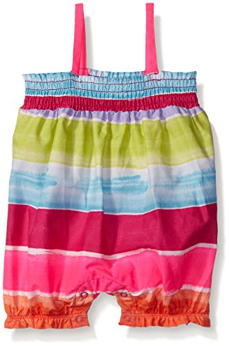 The Children's Place Girls' Multistripe Romper, Simply White, 12-18 Months
