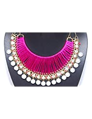 """JDX S Pink Color Fashionable Super """"Hot"""" Pearls Necklace"""