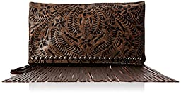 American West Rockabilly Folded Clutch,Distressed Charcoal Brown,One Size