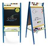 Bomio 2seitige Kindertafel mit Magnetfläche und Zählrahmen (Große Standtafel aus Buntholz (Modell MMCBL))