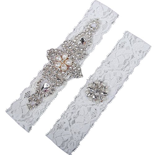 NYARER Ivory Wedding Garter Set ,Classic Series, Lace Vintage White Prom Bridal Gift M