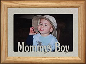 5x7 MOMMY'S BOY Landscape Picture Frame ~ Laser Cut Cream Marble Mat with LIGHT/MEDIUM Solid Oak Frame ~ Holds a 4x6 or cropped 5x7 Photo ~ Wonderful Gift for MOM from her Little Boy!