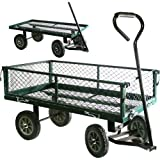 Good Ideas Heavy Duty Large Wheeled Garden Cart (1473) Capacity 880lbs, Drop Down Sides for easy Access.