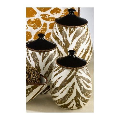 Safari red zebra print canister set by for Zebra kitchen set