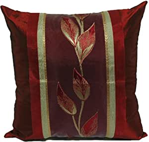 Decorative Pillow Cover Model : Amazon.com - ElleWeiDeco Decorative Darkred Leaf Throw Pillow Cover - Dark Red Throw Pillows