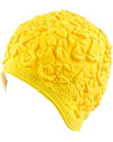 Latex with Embossed Flower Pattern Ornament Swim Bathing Cap ( Available in 6 Colors)