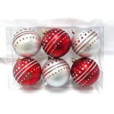 Queens Of Christmas WL-ORN-6PK-DOT-RS 6 Pack Ball Ornament With Dot Design, Red/Silver