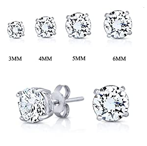 Rhodium Plated 925 Sterling Silver Simulated Diamond Cubic Zirconia Round Basket Prong Set Stud Earrings-4mm