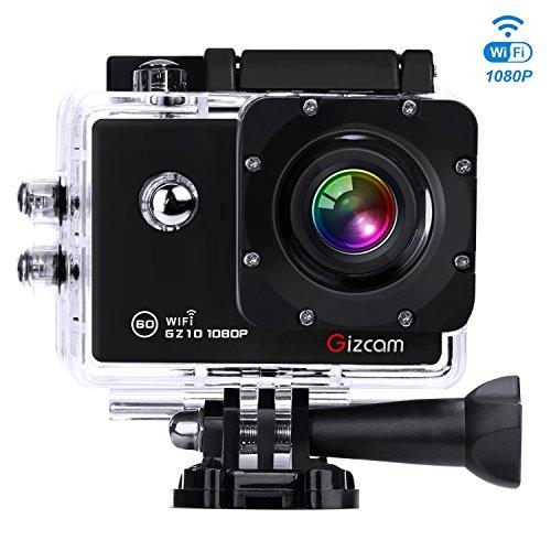 """Gizcam GZ10 Action Camera 1080P 60FPS WiFi Impermeabile Sports Camera 12MP 170° Angolo Ampio Lente 2.0"""" HD Schermo con 2 Batterie e Accessori Kit"""