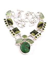 925 Silver Peridot Prehnite Gemstone Fashion Necklace For Women US24
