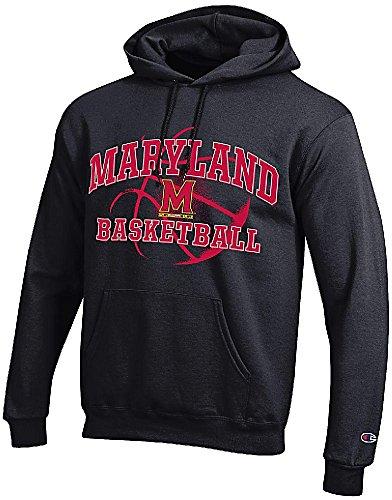 Maryland Terrapins Black Basketball Powerblend Screened Hoodie Sweatshirt by Champion (S=36)