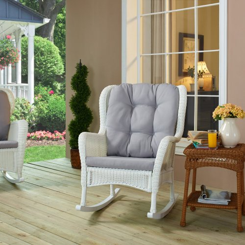 Coral Coast Coral Coast Wing Back Resin Wicker Rocking Chair With Gray Cushion, White, Resin Wicker front-146327