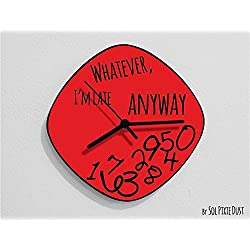 Whatever, I'm Late Anyway / Oval Red - Wall Clock