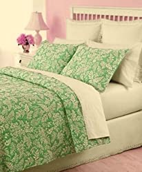 Martha Stewart Fern Fronds Twin Quilt & Sham Set Pear Green/White