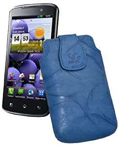 Original Suncase Echt Ledertasche (Magnetverschluss) für LG P936 Optimus True HD LTE in wash-blau