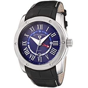 Mens 10005G-03 Traveler GMT Collection Blue Dial Black Leather Watch