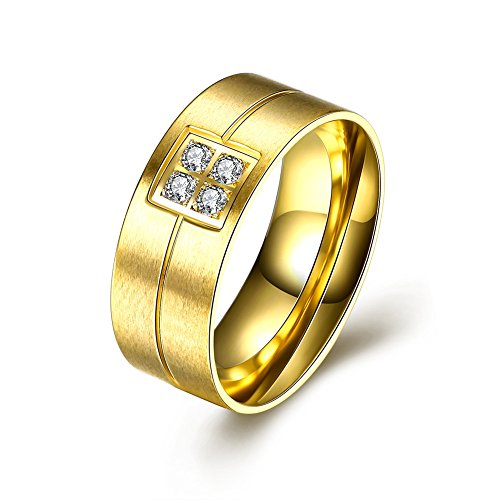 Mens Titanium Steel Zircon Inlay Ring Gold-Plated Simple Engagement Ring - Lacey D. Coleman (Fire Pit Coleman compare prices)