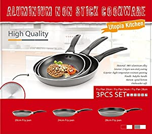 Utopia Kitchen Professional Oven Safe Nonstick 8-Inch 9.5-Inch 11-Inch Fry Pan Cookware Set, Dishwasher Safe, 3-Piece