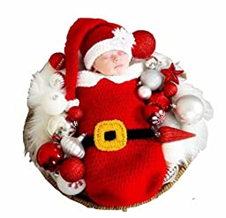 House Newborn Baby Photography Props Handmade Crochet Knitted Red Santa Claus Christmas Outfit Sleeping Bag