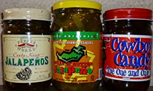 Texas Candied & Bread N' Butter Jalapenos Sampler 12-16oz Jars (Pack of 3 Different Varieties)