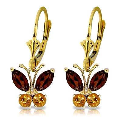 14k Solid Gold Garnets & Citrine Butterfly Earrings