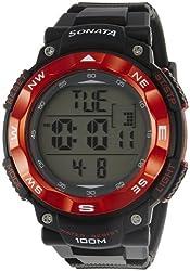 Sonata Ocean Series II Digital Grey Dial Mens Watch - NF77011PP02J