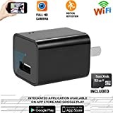 Wifi Hidden Spy Camera 32GB Included-1080P HD USB Wall Charger Hidden Camera - Mini Nanny Cam , Best For Home Secuirty -Latest Version