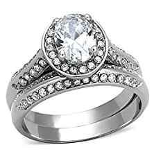 buy Stainless Steel Clear Oval Cubic Zirconia Halo Wedding Ring Set