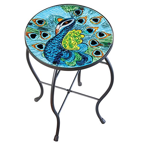 Peacock Glass Patio Accent Table