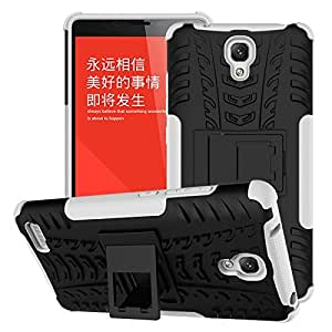Red Qube High Grade Back Grip Shockproof Case with Kickstand for Xiaomi Redmi Note (White)