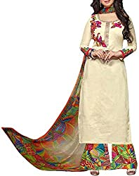 VIDA Women's Cotton Salwar Suit Material (Beige)