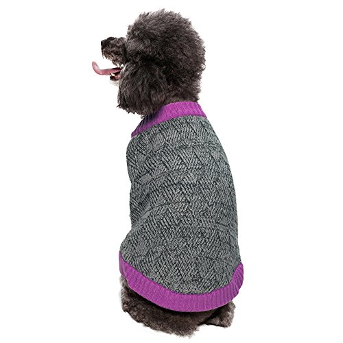 Blueberry Pet 14-Inch Dog Sweater, Large, Melange Gray And Silver front-542940