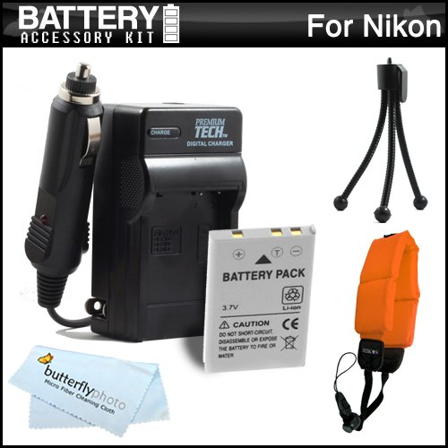 Battery And Charger Kit For Nikon COOLPIX AW100 Waterproof Digital Camera Includes Extended Replacement (1050Mah) EN-EL12 Battery + Ac/Dc Travel Charger + FLOAT STRAP + Mini Tripod + MicroFiber Cloth