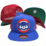 Chicago Cubs Blue/Red Three Panel Mesh Plastic Snapback Adjustable Plastic Snap Back Hat / Cap